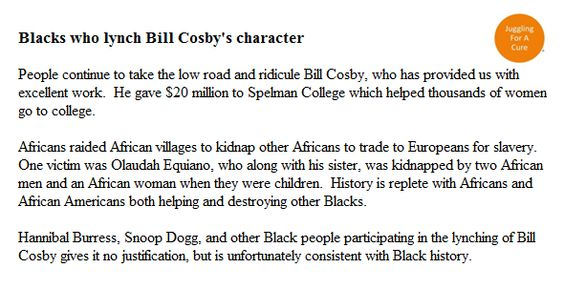 Blacks who lynch Bill Cosby's character.