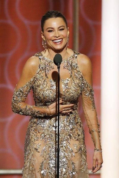 Presenter Sofia Vergara onstage during the 74th Annual Golden Globe Awards.