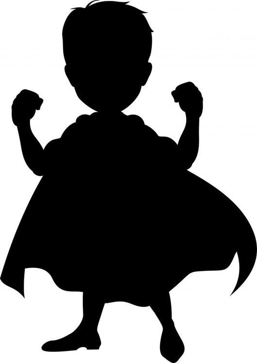 Kid Silhouette Clipart : silhouette, clipart, Superhero, Silhouette, Design, Decal, Silhouette,, Drawing