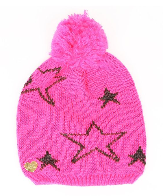 Look what I found on #zulily! Neon Pink Star Shimmer Pom-Pom Beanie by Betsey Johnson #zulilyfinds