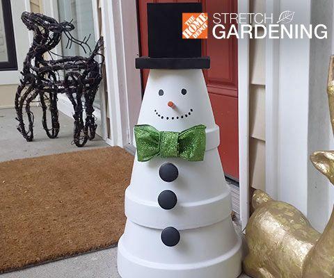 Make a Terra Cotta Snowman | Snowman, The Block and Snow