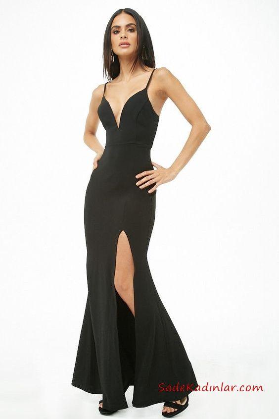 2019 Siyah Abiye Modelleri Siyah Uzun Ip Askili Dekolteli Yaka Derin Yirtmacli Siyah Abiye The Dress Elbise