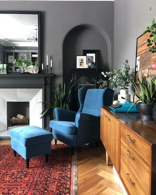Strandmon Tallmyra Blue Wing Chair Ikea Cosy Living Room Living Room Decor Video Modern Eclectic Living Room