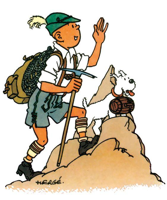 山頂に辿り着いたタンタンの画像