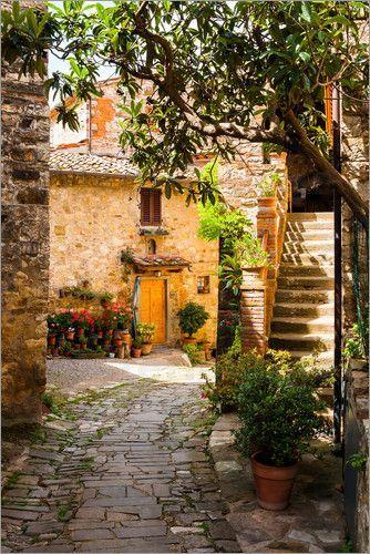 Poster Mediterrane Gasse Toskana Gasse Mediterrane Oldtown Poster Toskana Mediterranean Garden Design Italy House Tuscany