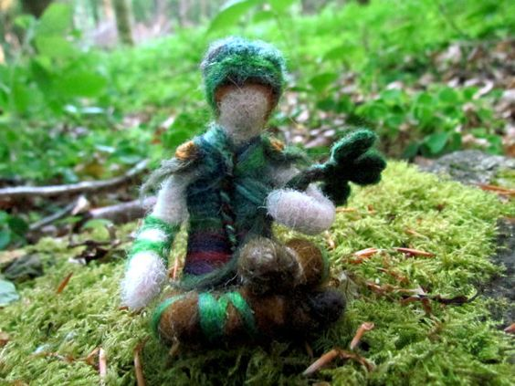 Irish Shamrock Fairy Needle Felted Figure by FollowTheForest
