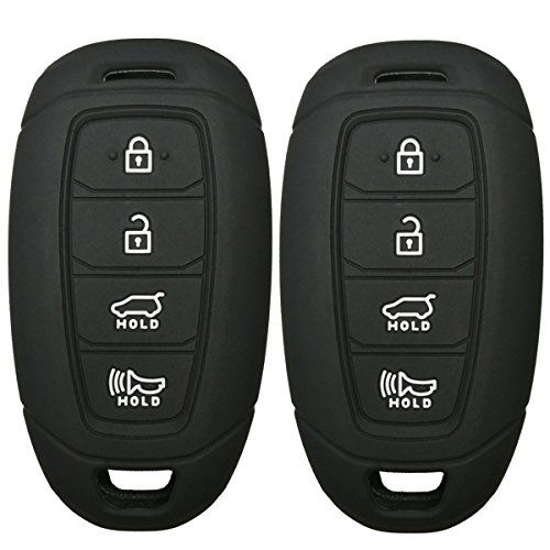 Ezzy Auto Pack 2 Black Silicone Rubber Key Fob Case Key Covers Key Jacket Skin Protectors fit for 2016 2017 Chevrolet Camaro