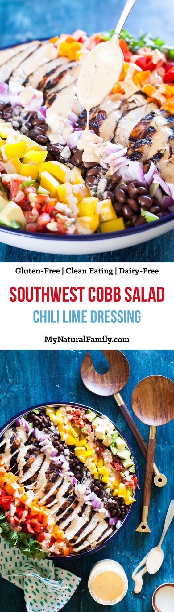 Southwest Cobb Salad with Smokey Chili Lime Dressing Recipe {Paleo, Gluten-Free, Clean Eating, Dairy-Free}