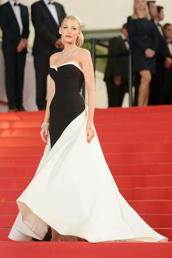 Black and white gown.