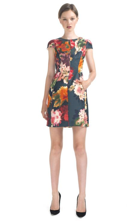 J.Mendel Cap Sleeve Floral Cocktail Dress