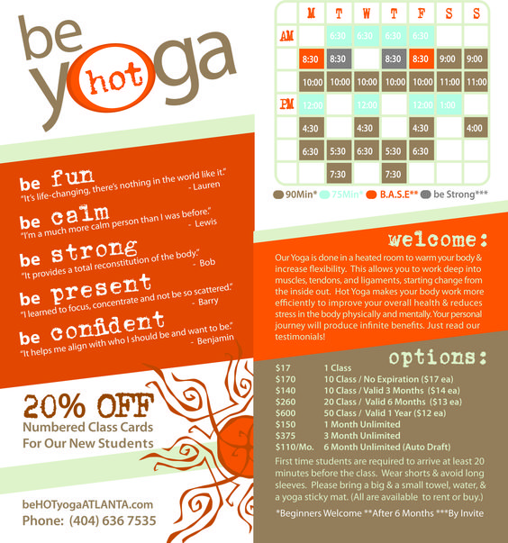 Flyer design for Be Hot Yoga, by Mindzainet * Yoga Pinterest - yoga flyer