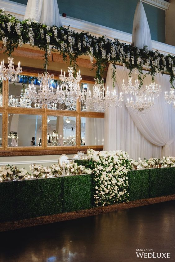 A Bride and Groom Table Surrounded By Boxwood Hedges and Sparkling Crystal Chandeliers | WedLuxe Magazine