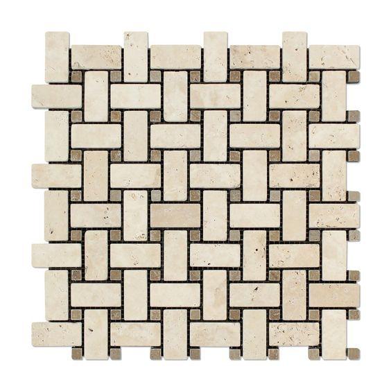Ivory Travertine Tumbled Basketweave Mosaic Tile w/ Noce Dots