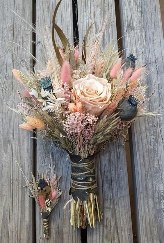 wedding dried flowers bouquets wild flower in bouquet gelinbuketlerim