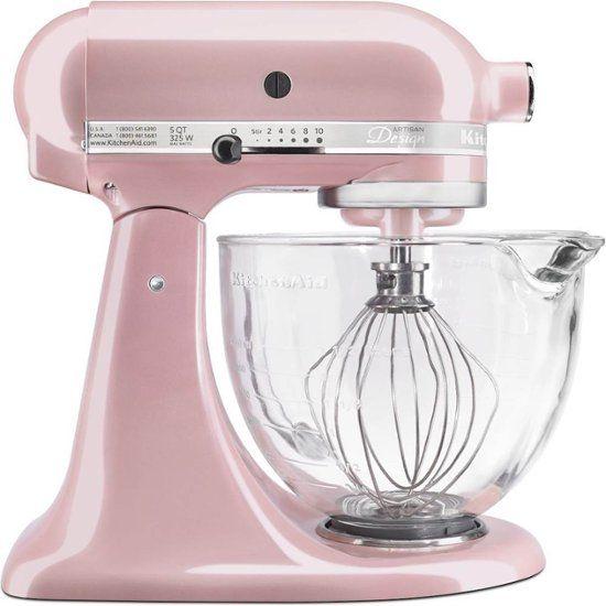 Kitchenaid Artisan Design Series Tilt Head Stand Mixer Silk Pink Ksm155gbsp Best Buy Kitchenaid Artisan Kitchen Aid Glass Bowl