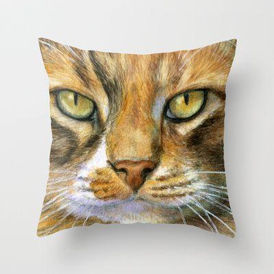 Calico Cat 817 Throw Pillow by S-Schukina - $20.00