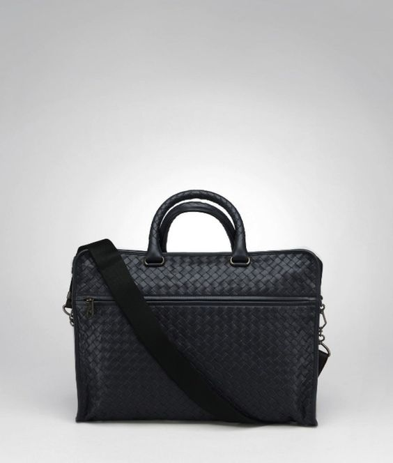 Black Ardoise Intrecciato Light Calf Briefcase 9/10 Condition
