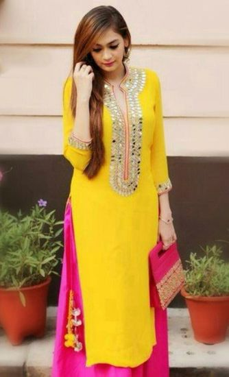SRK NEW EXCLUSIVE YELLOW AND PINK COLOR DESIGNER STRAIGHT CUT SALWAR SUIT - SRK CREATIVE Ethnic suit