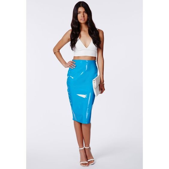 Mircia Blue PVC Midi Skirt ❤ liked on Polyvore featuring skirts, calf length skirts, blue skirt, blue knee length skirt, blue midi skirt and pvc midi skirt
