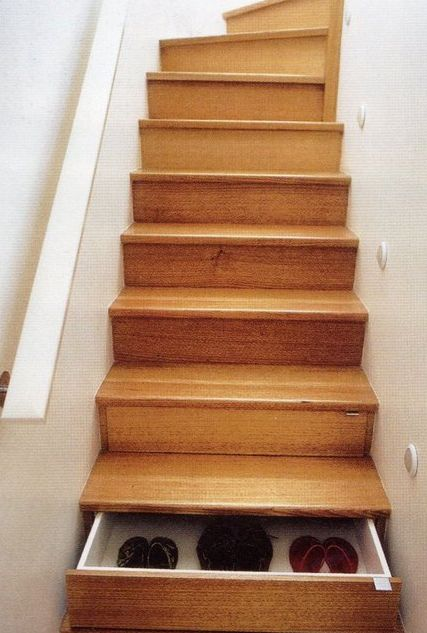 Oh. My. Goodness. These staircase drawers are so smart.