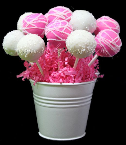 """Cute idea to display cake pops - """"Candy's Cake Pops: Pink Diamonds Basket – Perfect for any occasion. Shipping Nationally!"""""""