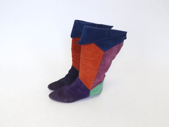 SIZE 7 1/2 Vintage 1980s 90s Colorblock Patchwork Suede Leather Slouch 7.5 wOMENS Boots Mid Calf Boots Shoes Hipster Fall Punk Bootalinos