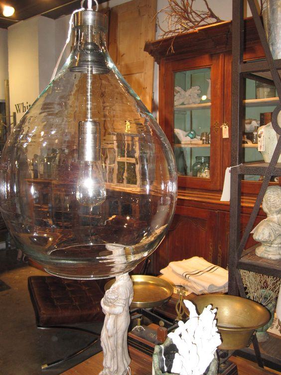 white x white demijohn pendant light inspired by a vintage wine bottle artisan made of blown glass bottle pendant
