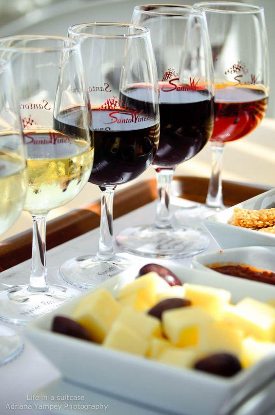 Wine tasting at Santo Wines, Santorini. Good wine and fabulous views