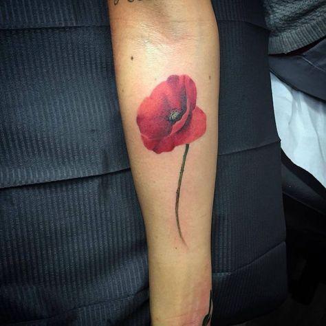 Tatoo Coquelicot Rouge Avant Bras Fleur Couleur Tatouage Tatouage Tatouages Colores Coquelicot Tatouage