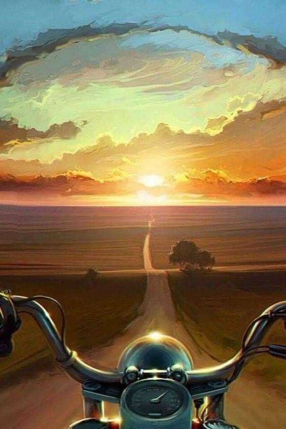 Ride Free Motorcycle Painting Sunset Canvas Painting
