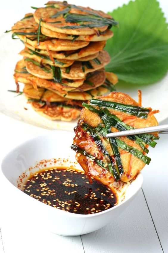 Korean Mung Bean Pancakes are chewy in the middle and crisp on the edges. Gluten Free and Vegan.