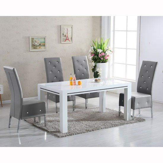 Diamante High Gloss Small Dining Table With 4 Asam Grey Chairs
