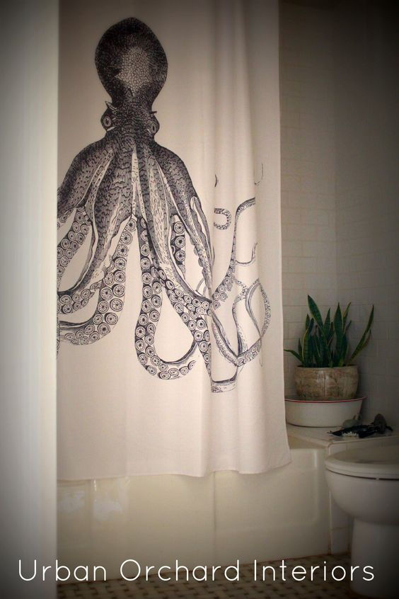 octopus shower curtain in kids' bathroom by urban orchid interiors
