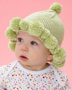 Bernat Softee Baby Knitting Patterns : Bernat Softee Baby - Pompom Baby Hat (free knitting pattern) Free Baby Garm...