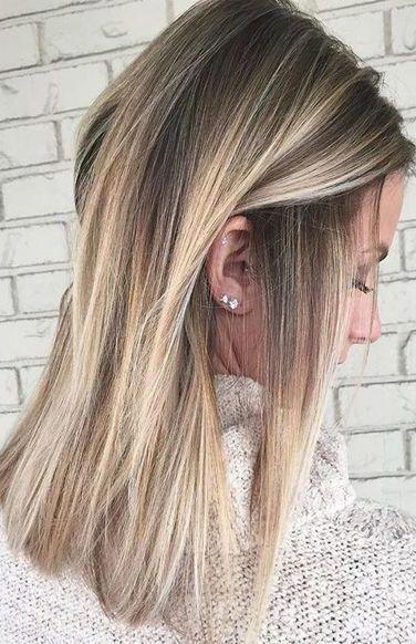 Haare balayage blond glatte Balayage Braun