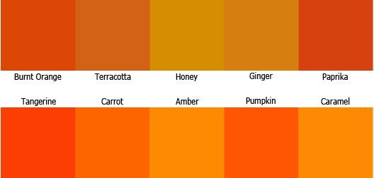 Orange Colour Shades Names