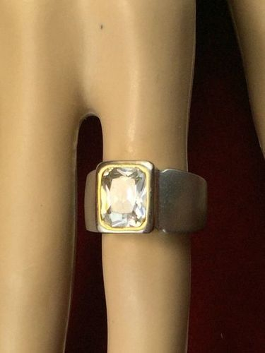 Vintage Silver Tone 3 ct White Topaz Cocktail Ring BB899|We combine shipping|No Question Refunds|Bid $60 for free shipping. Starting at $1