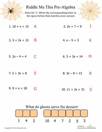 Printables Printable Pre Algebra Worksheets pre algebra fun equation mathematicians and halloween math fit for only the bravest this worksheets features a spider or two some tricky equations halloweeen ma