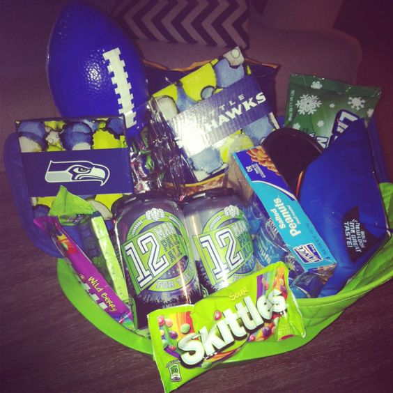 Seahawks gift basket blue and green | Seahawks | Pinterest ...
