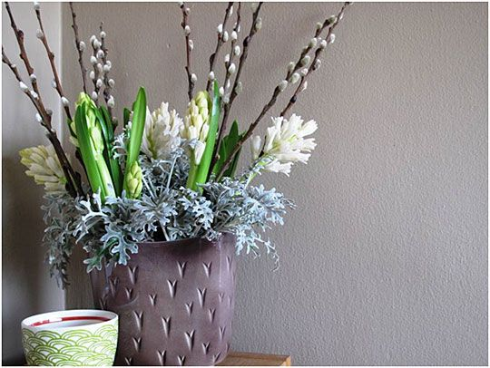 Hyacinths, pussy willow branches and dusty miller leave arrangement. Photos from Gardeners.com blogger Debra Prinzing.