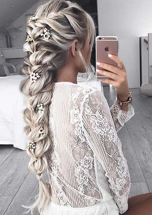 100 Trendy Long Hairstyles for Women: Flower-Embedded Braid: