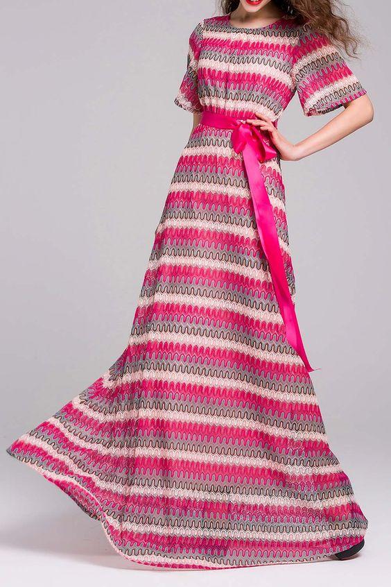 Knitted Belt Maxi Dress