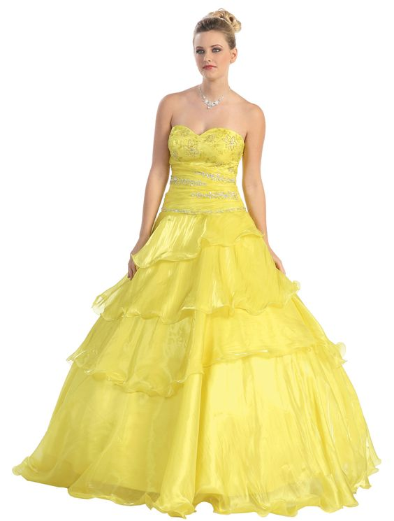 Yellow Poofy Prom Dresses 69