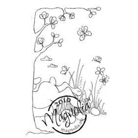 Magnolia Hoppy Easter Cling Stamp Bunny Background