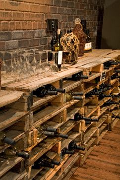 Best use of pallets I've seen by far! Wine storage