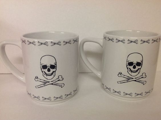 Skull Crossbones Mug Set Of 2 Black On White Ceramic Signature Housewares Inc.