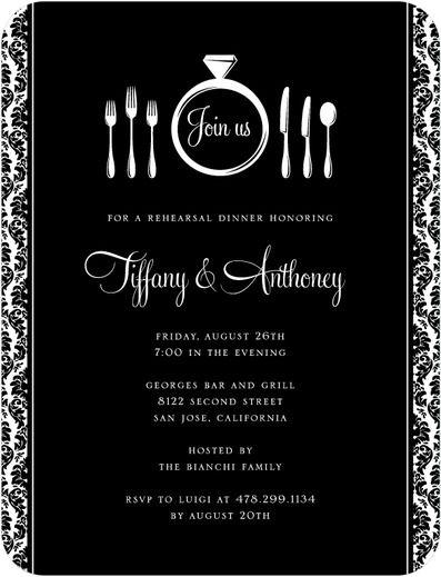 Dining Ring - Signature White Rehearsal Dinner Invitations - Magnolia Press - Black : Front