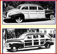 A pair of custom built Cadillacs built by Maurice Schwartz. The top photo depicts the a four door limousine built for for shoe magnate Harry Karl as a present for his wife, movie star Marie McDonald. The lower photo is cowboy star Gene Autry's six door limousine, similar to 1946 six door woodie built earlier for a movie studio.