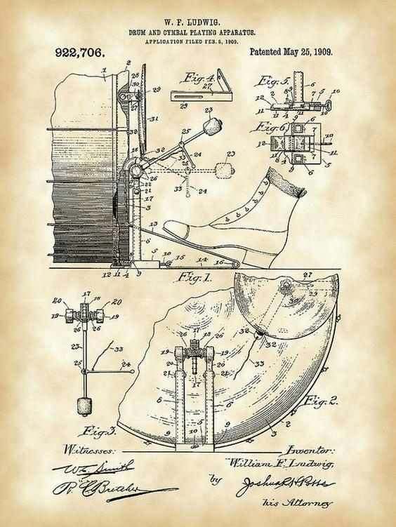 Original 1909 Wfl Bass Drum Pedal Patent