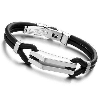 Armband mit Edelstahl Besätze Silikon Band hübsches Design für Damen und Herren